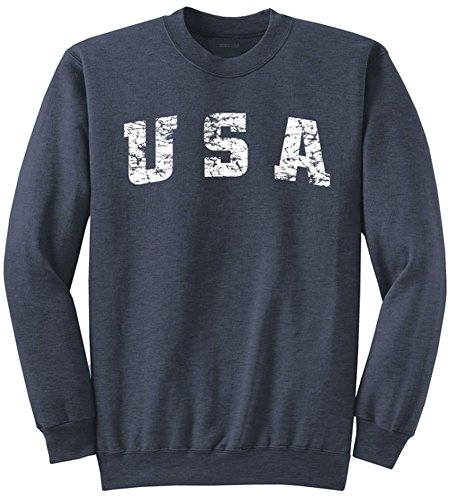 Vintage USA Logo Crewneck Sweatshirt-L.Heather Navy ()