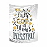 InterestPrint Christian Bible Verse with God All Things are Possible Cotton Linen Tapestry Wall Art Home Decor, Tapestries Wall Hanging Art Sets, 40W X 60L inch