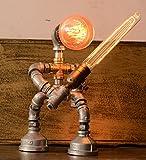 Designer Industrial Edison Vintage Style Saber Rustic Water Pipe Table Lamp Bedside