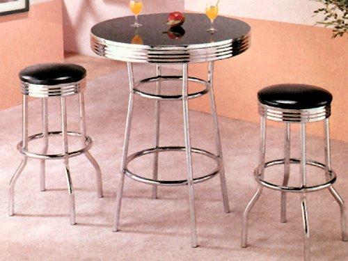 3-pc Pack Black Retro Chrome Plated Bar Table & Stool Set