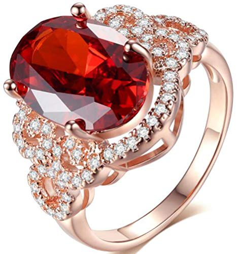 TEMEGO Vintage Rose Gold Large Stone Oval Cut Simulated Red Ruby Small CZ Crystal Statement Cocktail Ring