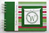 5x7 hard custom cover photo book - Christmas Photo Album by Charmbooks | Personalized Brag Book | Red Green White Stripes with Wreath | Choose Your Design
