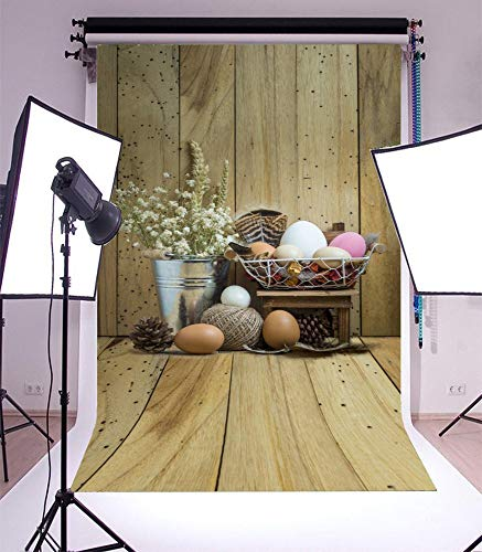 GoHeBe 3x5ft Vinyl Photography Backdrop Easter Eggs on Wooden Background Home Decoration Fresh Flowers Pine Cone Metal Bucket Rustic Stripes Wood Plank Vintage Wooden Floor Photo Background ()