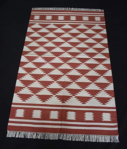 Handmade Cotton Kilim Rug Modern Rug Anatolia Orange Color Indian Dhurrie Rug Flat Woven Rug Home Decorative Rug