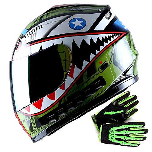 WOW Youth Motorcycle Full Face Helmet Street Bike BMX MX Kids Shark Green + MX Skeleton Glove Bundle ()