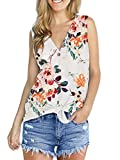 Womens Summer Tank Tops Plus Size Flower Clothes T Shirts Floral White XXL