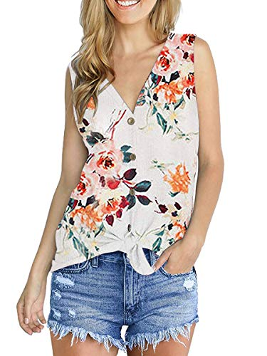 (Womans Tank Tops Casual Flower Sleeveless Shirts Fashion Blouses Floral White L)