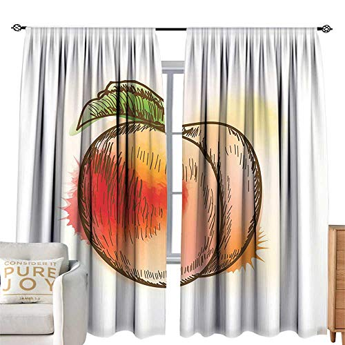 cobeDecor Extra Long Curtain Peach Fresh Fruit Full of Vitamins and Nutrition Food Sketch Color Splatters Scarlet Pale Orange Green Soft Texture W96 xL84