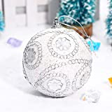 3.1 inch Christmas Tree Ball Decoration Christmas Rhinestone Glitter Baubles Balls Xmas Ornaments (White, 80mm)