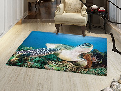 smallbeefly Turtle Door Mat outside Photo of Green Turtle and Lion Fish on Tropical Coral Reef Chelonia Snorkeling Bathroom Mat for tub Non Slip Blue Green White