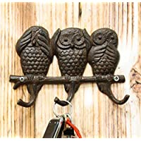"""Ebros Cast Iron Rustic See Hear Speak No Evil Great Horned Owls Family 3 Pegs Wall Hooks 7"""" Wide Hanger Nocturnal Bird Owl Themed Wall Mount Leash Coat Hat Keys Hook Decor Hanging Sculpture Plaque"""