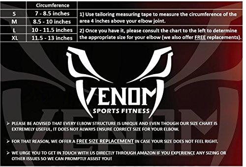 Venom Strapped Elbow Brace Compression Sleeve - Elastic Support for Tendonitis Pain, Tennis Elbow, Golfer's Elbow, Arthritis, Bursitis, Basketball, Baseball, Golf, Lifting, Sports, Men, Women (Medium) by Venom Sports Fitness (Image #5)