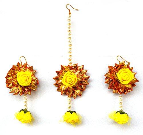 Floret Jewelry Yellow Flower Gota Patti Earrings And Mang Tika For Women & Girls (Mehandi/Haldi/Wedding)