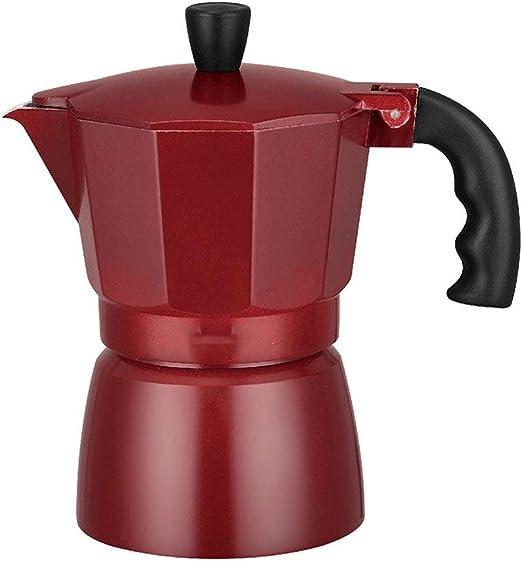 JAYDEN Cafetera italiana de aluminio redonda negro/rojo/marrón ...