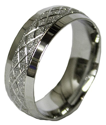 - Men's Stainless Steel Dress Ring Criss Cross Band 066 (9)