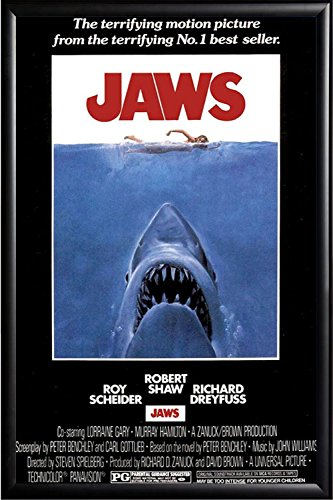FRAMED Jaws 24x36 Poster in Real Wood Premium Matte Black Fi