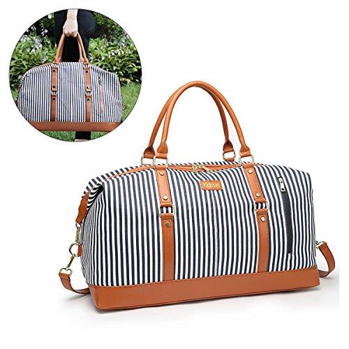 JOSEKO Travel Duffel Bag Women, Weekend Travel Bag Ladies Shoulder Bag Overnight Tote Bag White