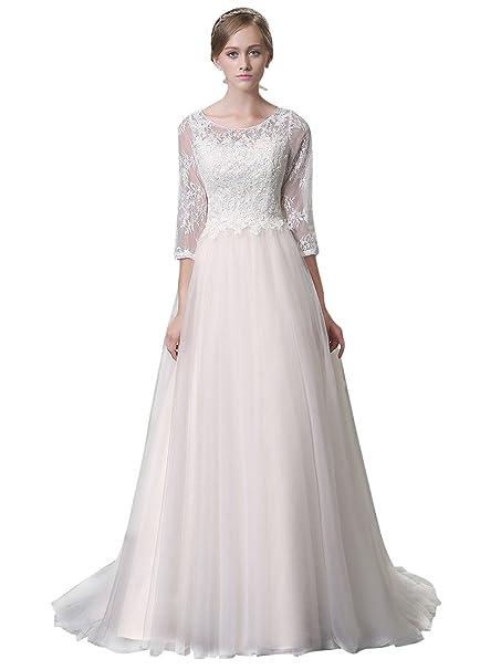 Adasbridal-vestidos de novia de Elegante encaje y tul de escote Scoop de A-