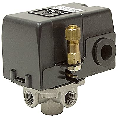 25 Amp Heavy Duty Pressure Switch For Electric Air Compressors, 95-125 Psi Range With Four Port Tank Connection Type, Replaces Many 4-port Models