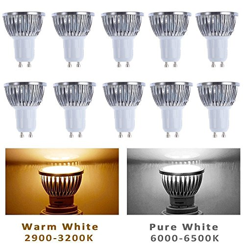 4w White Led (10pcs Pack Dimmable 110V 4W GU10 LED Bulbs - 3200K Warm white Spotlight - 330 Lumen, 35Watt Equivalent - 45 Degree Beam Angle)