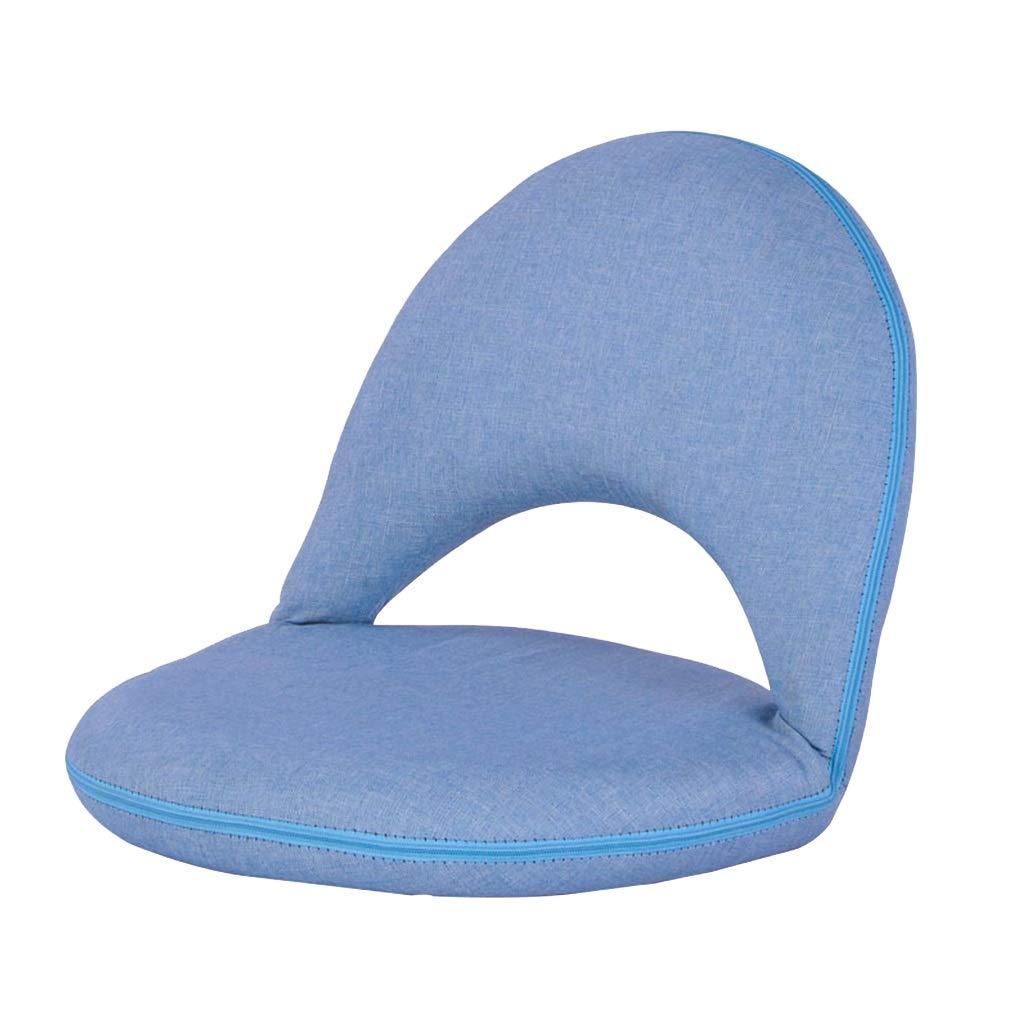 Silla Plegable en el Piso, Asiento Plegable en el Suelo Asiento Flojo Silla de Juego Tatami Silla de Meditación para Leer Mirar TV (Color : Azul)