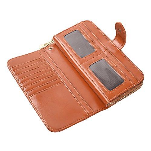 Mujer Carteras Cuero PU Leather tarjeta Carteras y monederos Piel Bolso Billetera Card Holders de gran capacidad cuero de la cartera Solido Simple Cremallera Multi Card Organizador mano y clutches Marron