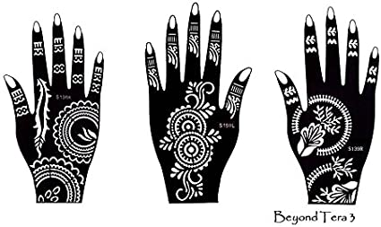Henna Tattoo Plantilla Plantillas 3 Sheet para manos Terra: Amazon ...