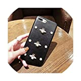 B Dressy Fashion for iPhone 7 Plus 6S+ Plus XR XS MAX Kawaii DIY Bling B Dressy Crystal Bee Soft Leather with Strap Phone Cases,Q,for 6Plus 6sPlus