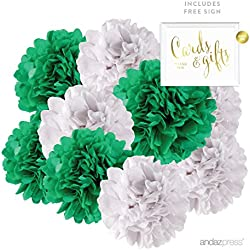Andaz Press Hanging Tissue Paper Pom Poms Party Duo Decor Kit with Free Party Sign, Emerald Green and White, 8-Pack