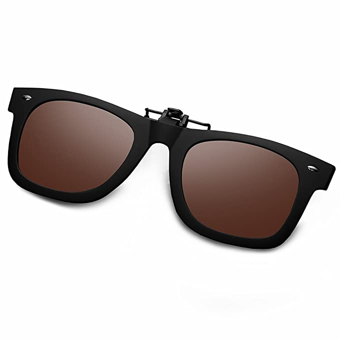 055c94e2bf932 WELUK Polarized Clip On Flip Ups Sunglasses TR90 Frame UV400 Driving  (Brown