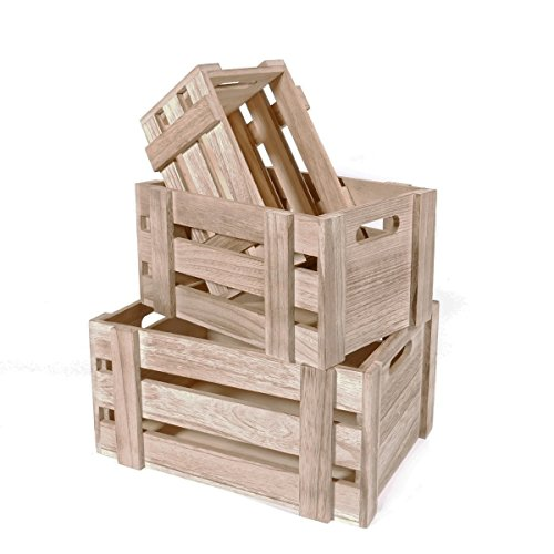 SLPR Decorative Storage Wooden Crates (Set of 3, Natural Wood) | Perfect for Floral Arrangements Gardening Wedding Display Vintage Country Chic Rustic Style (Wooden Crate Finished)