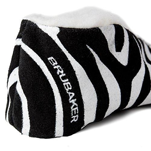 BRUBAKER Women's Funny Zebra Print Suede Slippers White 7glZobaJHv