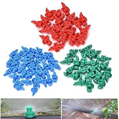 Eshylala 100 Pieces 360 Degree Atomizing Sprinkler Spray Garden Watering Irrigation Atomizing Sprinkler Refraction, Random Colors