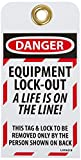 NMC LOTAG18-25 ''DANGER - EQUIPMENT LOCK-OUT A LIFE IS ON THE LINE'' Lockout Tag, Unrippable Vinyl, 3'' Length, 6'' Height, Black/Red on White (Pack of 25)