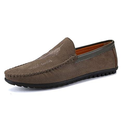 YAN Zapatos para Hombre Gamuza Primavera Otoño Mocasines y Slip-Ons Suela Ligera Zapatos de