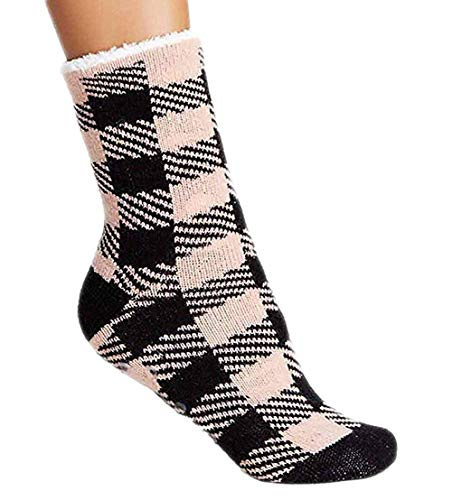 Charles Albert Womens Cozy & Comfortable Womens Slipper Socks (Pink Checker Long, One Size - Fits Shoe Sizes 5-9) ()