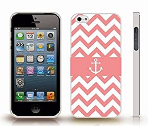 Case For HTC One M8 Cover with Chevron Pattern Peach Coral/ White Stripe White Anchor Black , Snap-on Cover, Hard Carrying Case (White)