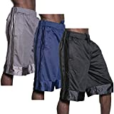 SK Mens Light-Weight Mesh Shorts Athletic Fitness Gym Sports S-5XL (2XL (3) Set, BLK/NAVY/CHA)