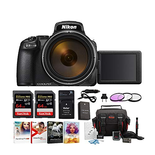 Nikon Coolpix P1000 4K Digital Camera with Extreme Pro 64GB Card 2-Pack, Camera Case, 77mm Filter Kit, Software Pack and Accessory Bundle ()