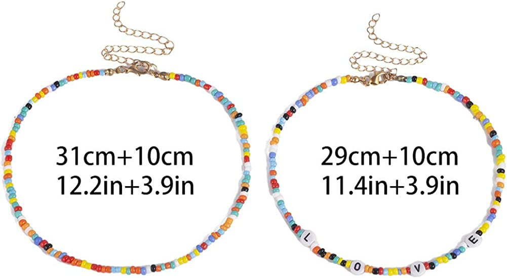 smallwoodi Exquisite Stylish Pendant,2Pcs Bohemian Beaded Choker Necklace
