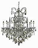 Athena Collection 10-Light Pewter Fix With Clear Swarovski Strass Crystal