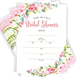 Floral Watercolor Bridal Shower Invitations | 40 Invitations with Envelopes