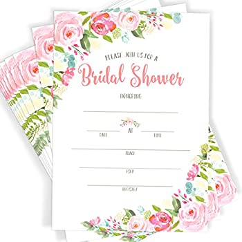 40 floral watercolor bridal shower invitations 40 invitations with envelopes
