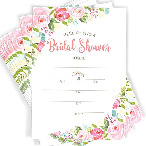 40 Floral Watercolor Bridal Shower Invitations | 40 Invitations with Envelopes -