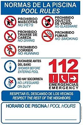 Cartel resistente PVC - NORMAS DE PISCINA -POOL RULES - Señaletica de aviso - ideal para colgar y advertir (10)