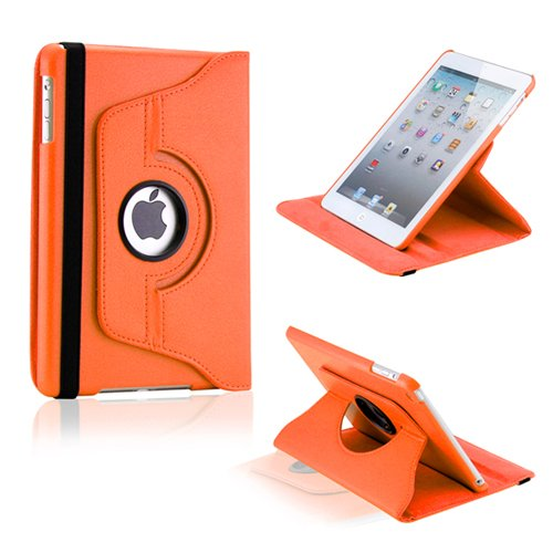 Gearonic TM 360 Degree Rotating Stand Smart Cover PU Leather Swivel Case for Apple iPad Mini and 2013 iPad Mini with Retina Display (Wake/sleep Function) - Orange
