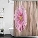 Pink Mossy Oak Shower Curtain Home Decor Shower Curtain,Rustic One Large Gerbera Daisy on Oak Tree Background Dramatic South American Exotic Photo,Shower Curtains in Bath,W60x72L,Pink Brown