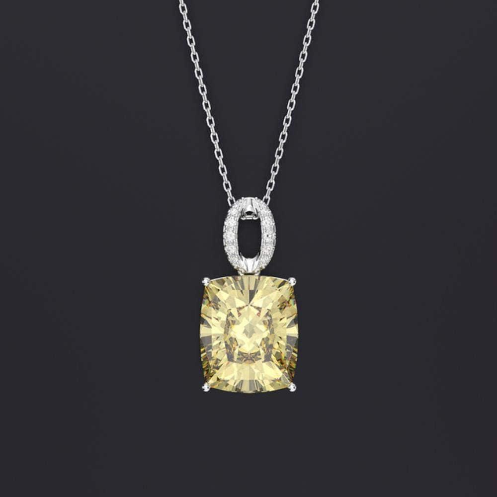 FISISZ 925 Plata esterlina Creado Moissanite Citrino Zafiro Piedras Preciosas Collar Colgante joyería Fina, Amarillo, 45 cm