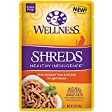 Wellness Healthy Indulgence Natural Grain Free Wet Cat Food, Shreds Tuna & Shrimp, 3-Ounce Pouch (Pack Of 24) Review