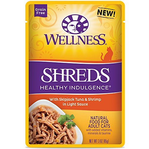Wellness Healthy Indulgence Natural Grain Free Wet Cat Food, Shreds Tuna & Shrimp, 3-Ounce Pouch (Pack Of 24)